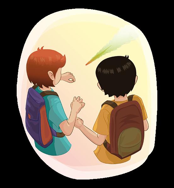 Txano y Óscar miran el meteorito mientras cae frente a ellos