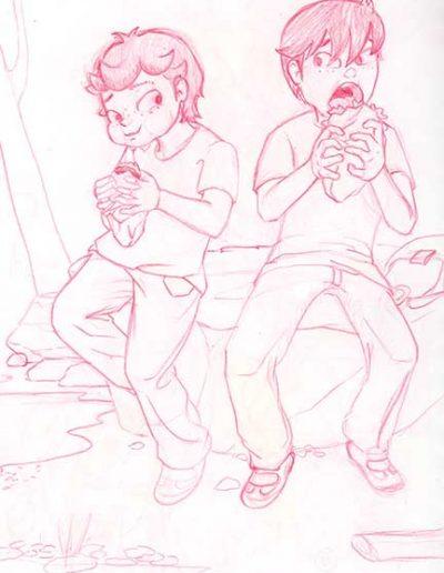 Boceto comiendo bocata