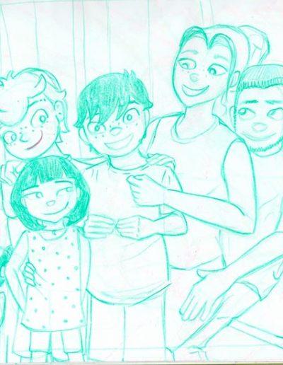 Boceto toda la familia