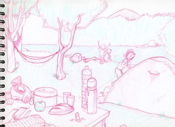 Boceto previo camping en el lago