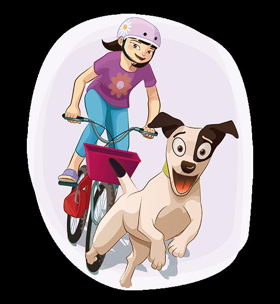 Sara-Li va en bici con Maxi corriendo delante